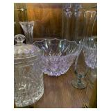 Cut glass bowl, vases, canister