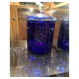 Bohemian cobalt blue glass canister