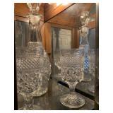 Wexford cut glass decanter & 4 stem glasses
