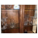9pc clear/cut glass (lg heavy vase)