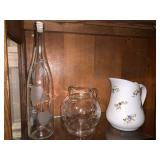 Glass pitchers and bottle