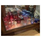 Assorted red & blue cut glass