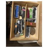 Wood box and knives