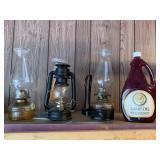3 Oil lamps & full bottle of lamp oil