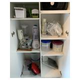 6 shelves of content (Blenders, choppers,