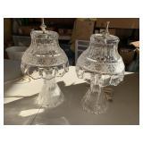 2 Lead glass lamps