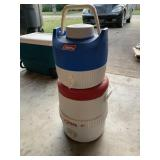 Coleman and igloo water cooler
