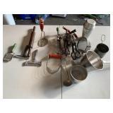 Vintage kitchen utensils & cabinet