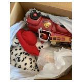 Toy firetruck, stuffed animals, toys