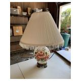 Hand painted glass rose table lamp