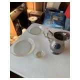 Pyrex dish, 3 glass bowls, silver plated pitcher