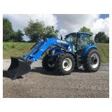 2014 NEW HOLLAND T4.115 4WD CAB TRACTOR, LOADER, C/H/A, WHEEL WEIGHTS, BUDDY SEAT, 3PT HITCH, 540 PT