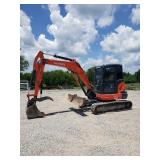 KUBOTA KX057-4, C/H/A, HYD THUMB, HYD FRONT ANGLE BLADE, SHOWING 936 HRS, S/N 29198