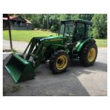 '09 JOHN DEERE 5083E, W/ 553 LOADER W/ BUCKET, ONLY 1376 HRS