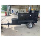 UNUSED TRAILER SMOKER, SMOKE CHAMBER, RIB BOX, FISH FRYER ON SIDE, STORAGE BOX, 3500# AXLE