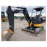 JOHN DEERE 27D MINI EXCAVATOR, OROPS, FRONT BLADE, AUX HYDRAULICS, SHOWING 1951 HRS, S/N# 1FF027DXTA