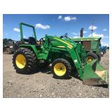 JOHN DEERE 790, 4WD, W/ JD 300 LOADER, SHOWING 449 HRS