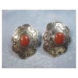 Navajo Coral & Nickel Concho Earrings