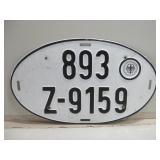 """14"""" x 8"""" Vintage Metal Germany License Plate"""