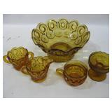 Assorted Vintage Amber Glassware Largest 9.5x 4.5