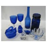 """Collection Of Blue Glassware As Shown Tallest 12"""""""