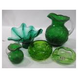 """Green Glassware Collection All Shown Tallest 9"""""""
