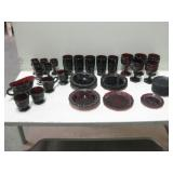 Collection Of Avon Ruby Glassware All Pictured