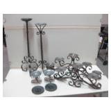 """Assorted Metal Candle Holders As Shown Tallest 26"""""""