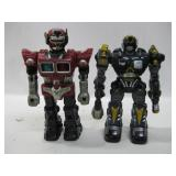 """Two Battery Operated Electronic Robots Tallest 15"""""""