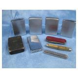 Six Vintage Zippo Lighters & Pocket Knives Shown