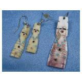 Carved SW Shell Multi Stone Earrings & Pendant