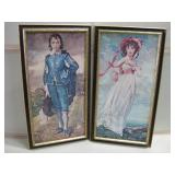 "Pair 14.5""x 26.5"" Framed Vintage Prints On Board"