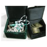 """Two 2.5""""x 3""""x 2"""" Velvet Boxes W/Charms & Coins"""