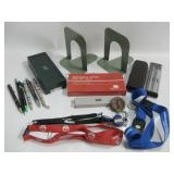 Office Supply Lot Pens, Lanyards, Book Ends More