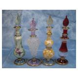"Four 5"" Tall Blown Glass Egyptian Perfume Bottles"