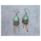 Sterling Silver SW Turquoise Earrings Hallmarked