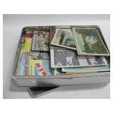 """10""""x 8""""x 2"""" Tin W/Vintage Post Cards & More"""