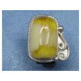 Sterling Silver Amber Ring Hallmarked