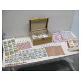 "12""x 8.5""x 6"" Wood Box W/Vintage Stamps"