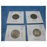 Four 1913-1915 Buffalo Head Nickels