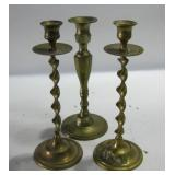 """Three Vintage Brass Candle Stick Holders 10"""" Tall"""