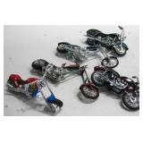 """Five Assorted Toy Motorcycles Longest 6.5"""""""