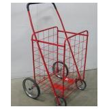 Collapsible Red Metal Rolling Cart