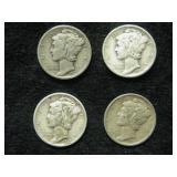 Four 1939-D Mercury Dimes -  Denver Mint
