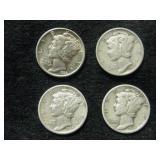 Four 1939-S Mercury Dimes - San Francisco Mint