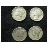 Four 1939 Mercury Dimes - Philadelphia Mint