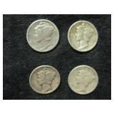 Four 1938 Mercury Dimes - Philadelphia Mint