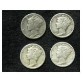 Four 1937 Mercury Dimes - Philadelphia Mint