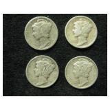 Four 1937-D Mercury Dimes -  Denver Mint