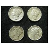 Four 1937-S Mercury Dimes - San Francisco Mint